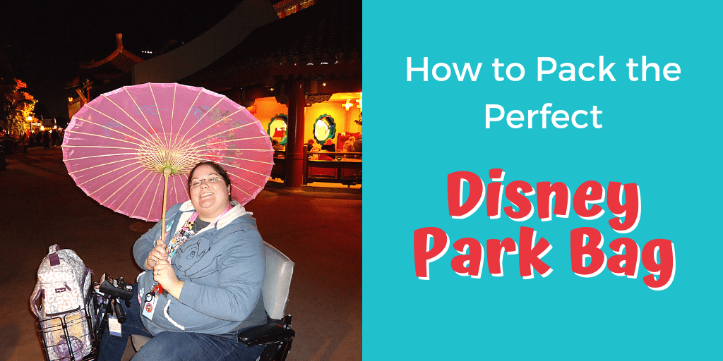 "Picture of woman in electric scooter holding pink parasol, with backpack in scooter basket. Text ""How to pack the perfect Disney park bag"""